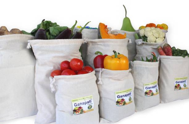 Ganapati Fridge 100% Cotton Bag for Vegetables & Fruits Storage Organizer Reusable Multipurpose Washable Eco-Friendly Premium Quality Grocery Bag ( 6 Large and 4 Medium Size bag) Pack of 10 Grocery Bags