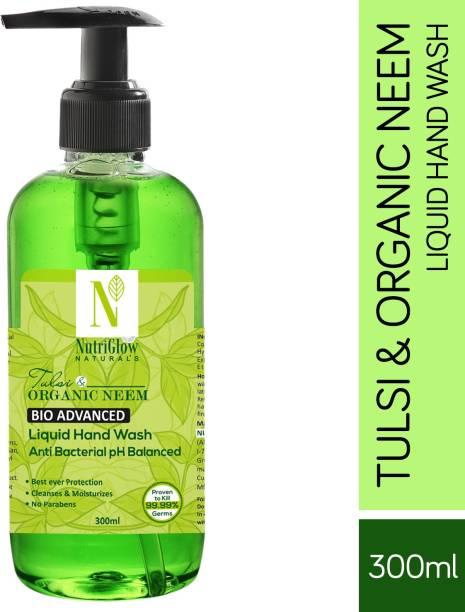 NutriGlow NATURAL'S Bio Advanced Tulsi & Organic Neem Anti Bacterial Hand Wash For intense Germ Protection  Purifying Neem & Tulsi Soap Kills 99.9% Germs/300ml Hand Wash Pump Dispenser