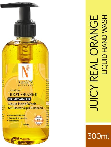 NutriGlow NATURAL'S Real Juicy Orange Hand Wash For Best Hand Protection  Refreshing Hand Soap Kills 99.9% Germs/300ml Hand Wash Pump Dispenser