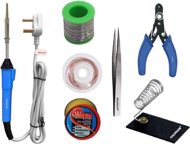FADMAN Beginner Basic Soldering Iron Kit Pack-7   Solder Wire   Stand   Wire Cutter   Soldering Flux   Tweezer   Desoldering Wick  Soldering iron 25 W Simple