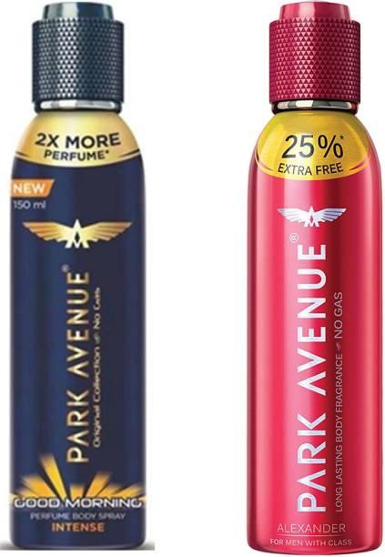 PARK AVENUE INTENSE GOOD MORNING DEODORANT BODY SPRAY FOR MEN 150 ML + ALEXANDER BODY PERFUME FOR MEN 150 ML (300 ML PACK OF 2) Deodorant Spray  -  For Men & Women
