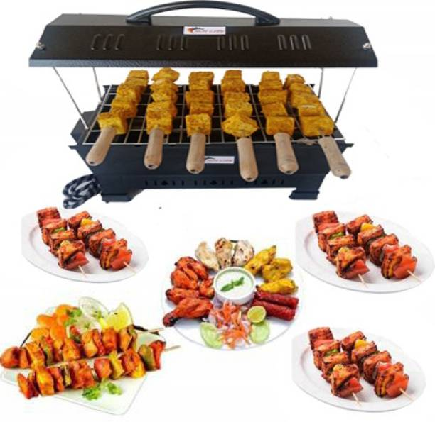 """HOT LIFE Electric & Charcoal Barbeque (2 in 1 BBQ)""""Multi Purpose""""Grill with 6 Skewers Wooden Handle Electric Grill Big Electric Tandoor"""
