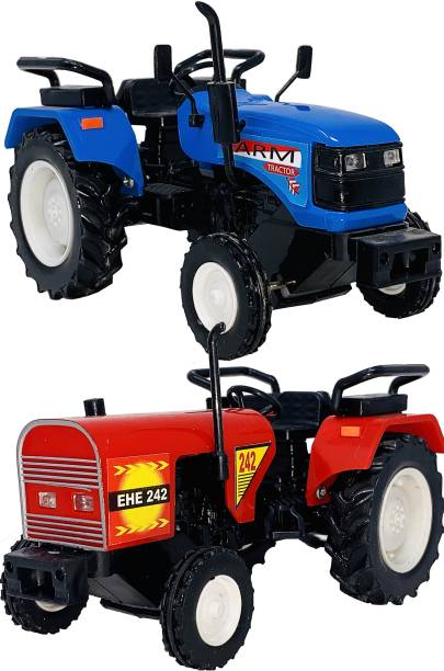 Miniature Mart Pack Of 2 ABS Plastic Made Tractor Vehicle Kit, Eicher Tractor & Farm Tractor Toys For Boys (Vehicle Showpieces) (2 Combo Offer)