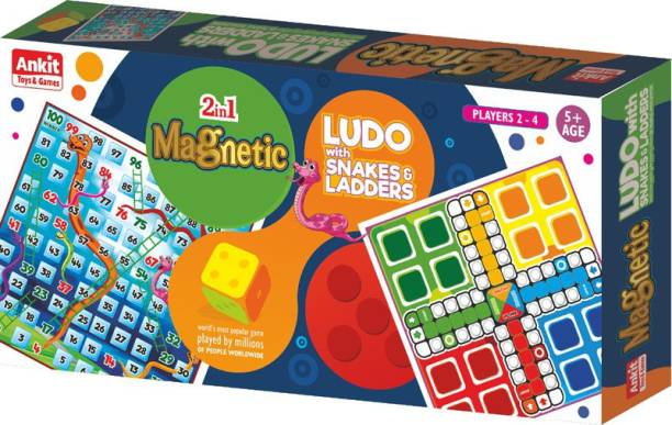 Ankit Toys Magnetic Ludo Snake & ladder Board Game Medium Board Game 12 X 12 Inch - Multicolor Party & Fun Games Board Game