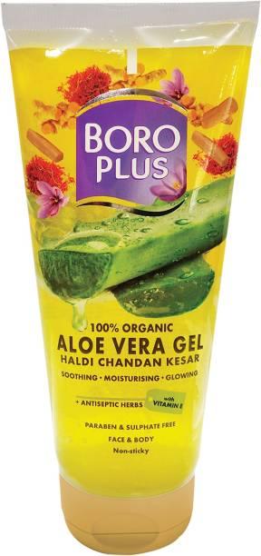 BOROPLUS 100% Organic Aloe Vera Gel Haldi Chandan Kesar