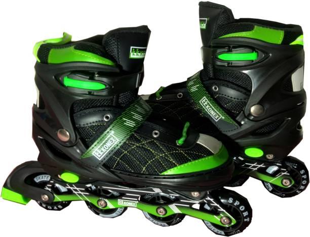 KK Konex INLINE [ ADJUSTABLE ] Skating Shoe In-line Skates - Size 6-9 UK (GREEN) In-line Skates - Size 6-9 UK