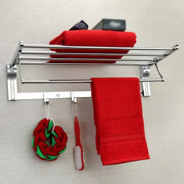 Plantex Stainless Steel Folding Towel Rack for Bathroom/Towel Stand/Hanger/Bathroom Accessories(24 Inch-Matt-Silver) Silver Towel Holder
