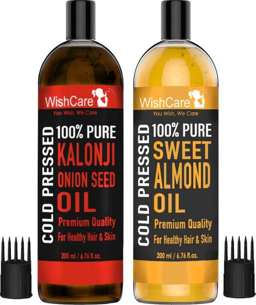WishCare 100% Pure Cold Pressed Kalonji Black Seed Oil & Sweet Almond Oil - 200Ml Each
