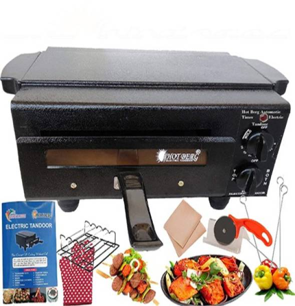 HOT BERG Big XXL Stylish Automatic Timer Regulator 2000W Electric Tandoor and Barbeque Grill Combo with Full Accessories (Black) Electric Tandoor