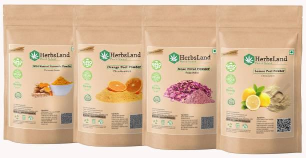 HerbsLand 100% Pure Organic Wild Kasturi Turmeric, Orange Peel, Rose Petal & Lemon Peel Powder Organic Amba Haldi Kasturi Turmeric Powder And Orange Peel Powder