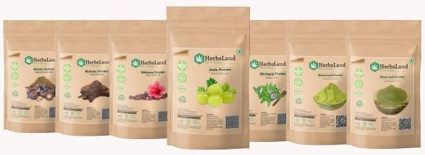 HerbsLand 100% Bio Organic Amla Reetha Shikakai Hibiscus Bhringraj Henna Neem Powder For Hair care (70gm Each)