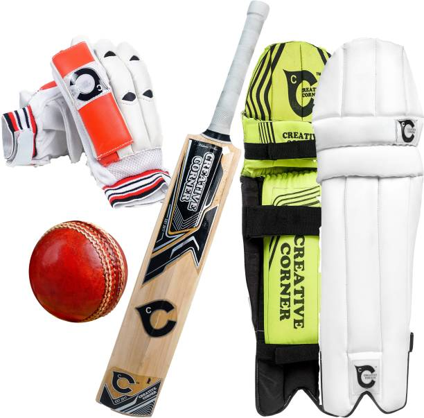 Creative Corner 1 Set of Glove PU Leather, 1 Set of Leg Guard Pu Leather, 1 Kashmiri Willow Bat Full cane Handel, 1 Ball Made by LM Leather 4 Pcs Cut for extra mile, Cricket Kit