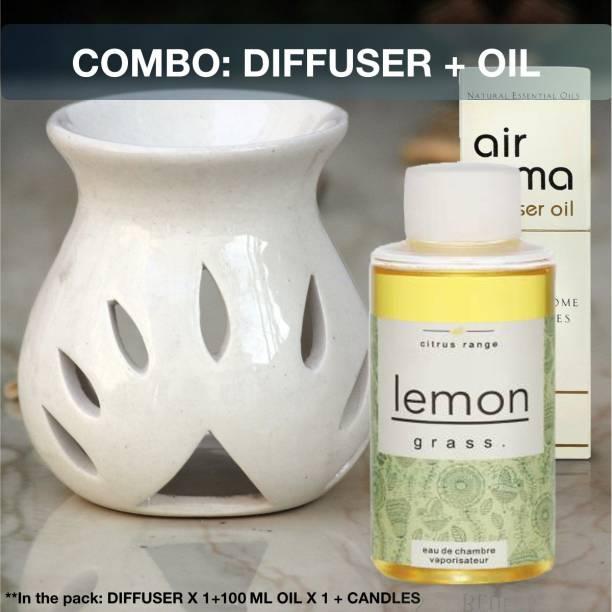Airroma Combo of diffuser set Lemon Grass Aroma Oil 100ml & White Aroma Oil Burner Diffuser Set, Diffuser, Aroma Oil