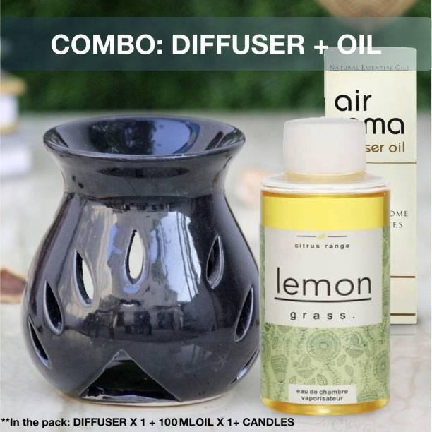Airroma Combo of diffuser set Lemon Grass Aroma Oil 100ml & Black Aroma Oil Burner Diffuser Set, Diffuser, Aroma Oil