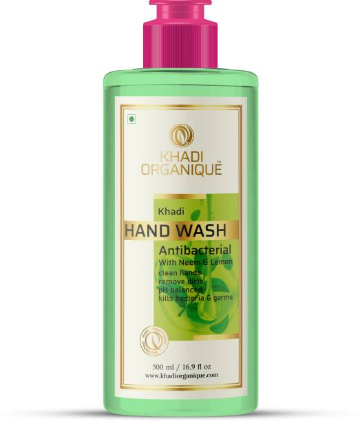 khadi ORGANIQUE Advanced Lemon & Organic Neem Anti Bacterial Hand Wash For Best Ever Protection  Cleanses Moisturises hand/ Hand Wash Hand Wash Bottle