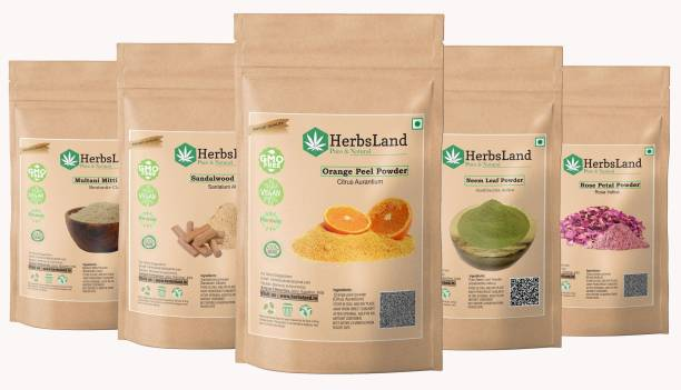 HerbsLand 100% Bio Multani Mitti Sandalwood (Chandan) Orange Peel Neem Leaf Rose Petals Powder for Face and Skin (50gm each)