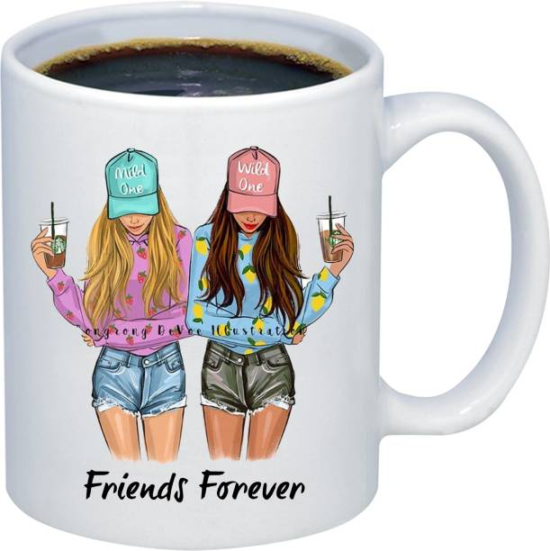 Adi Creations friends Forever Crazy girl Style Happy Friendship Day Designer Ceramic Coffee Mug