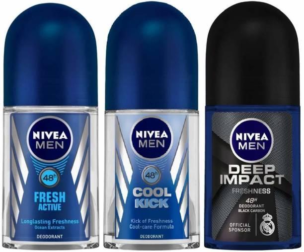 NIVEA Deep Impact, Fresh Active & Cool Kick Roll on Deodorant Roll-on  -  For Men