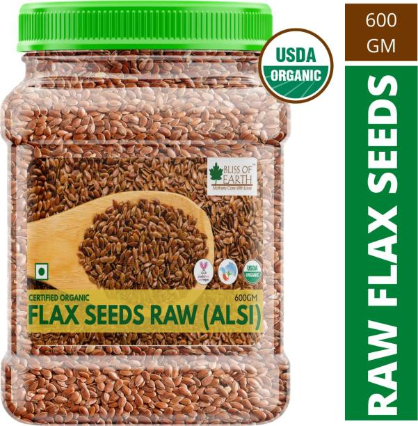 Bliss of Earth 600GM Certified Organic Flax Seeds Raw Superfood for Weight Loss