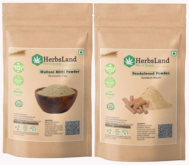 HerbsLand Multani Mitti (Fuller's Earth) Sandalwood Powder (Chandan) for Face and Skin Care (100gm Each)