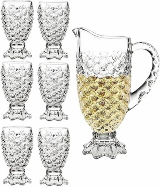 Joy2u (pack of 7)Crystal Cut Glass Lemon Set JUG & Glass for Juice and Water_ (7 PCS) 1.5 LT JUG & 250 ML Glass Jug Glass Set