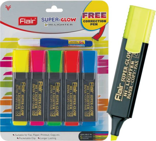 FLAIR Super Glow Highlighter with Correction Pen