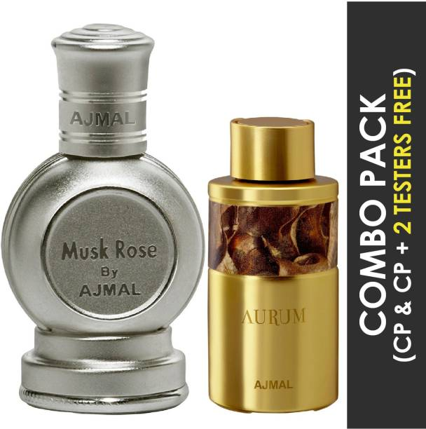 Ajmal Musk Rose Concentrated Perfume Oil Floral Musky Alcohol-free Attar 12ml for Unisex and Aurum Concentrated Perfume Oil Fruity Floral Alcohol-free Attar 10ml for Women + 2 Parfum Testers FREE Floral Attar