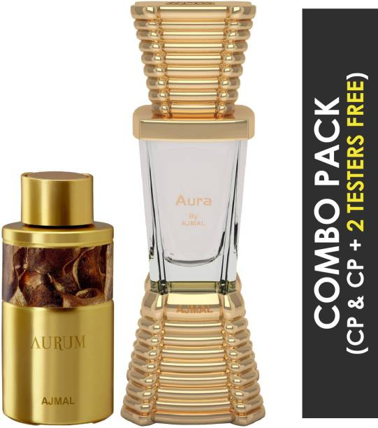 Ajmal Aurum Concentrated Perfume Oil Fruity Floral Alcohol-free Attar 10ml for Women and Aura Concentrated Perfume Oil Floral Fruity Alcohol-free Attar 10ml for Unisex 2 Parfum Testers FREE Floral Attar