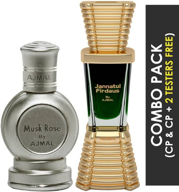 Ajmal Musk Rose Concentrated Perfume Oil Floral Musky Alcohol-free Attar 12ml for Unisex and Jannatul Firdaus Concentrated Perfume Oil Oriental Alcohol-free Attar 10ml for Unisex + 2 Parfum Testers FREE Floral Attar