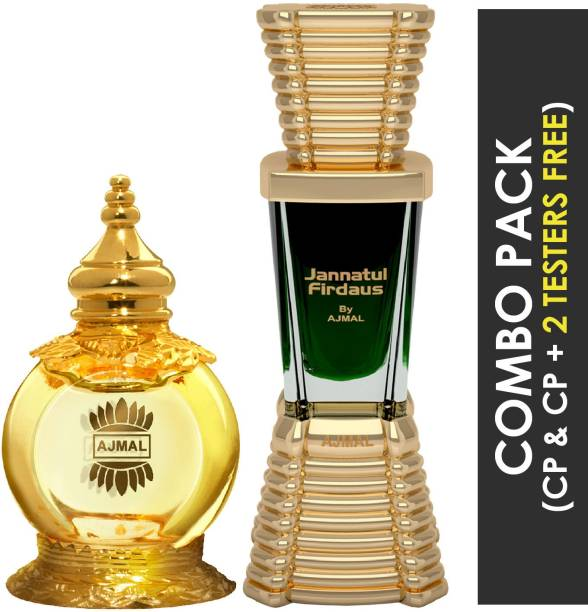 Ajmal Mukhallat AL Wafa Concentrated Perfume Oil Oriental Musky Alcohol-free Attar 12ml for Unisex and Jannatul Firdaus Concentrated Perfume Oil Oriental Alcohol-free Attar 10ml for Unisex + 2 Parfum Testers FREE Floral Attar