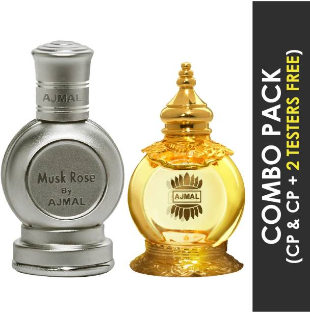 Ajmal Musk Rose Concentrated Perfume Oil Floral Musky Alcohol-free Attar 12ml for Unisex and Mukhallat AL Wafa Concentrated Perfume Oil Oriental Musky Alcohol-free Attar 12ml for Unisex + 2 Parfum Testers FREE Floral Attar