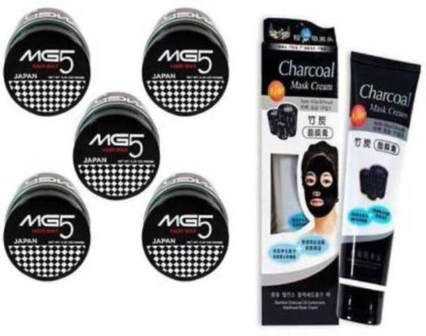 GIRUDHIRU pack of 5 MG5 120g hairwax with 1 charcoal peel of mask face wash 130g (6 Items in the set)