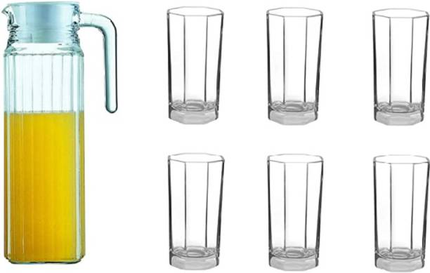 Joy2u (pack of 7)Glassware Octime Drink/Water Set of 6 Tumblers and 1 Jug with Lid (Transparent) Jug Glass Set