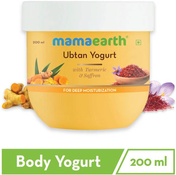 MamaEarth Ubtan Yogurt, Lotion For Dry Skin, with Turmeric and Saffron for Deep Moisturization - 200 ml