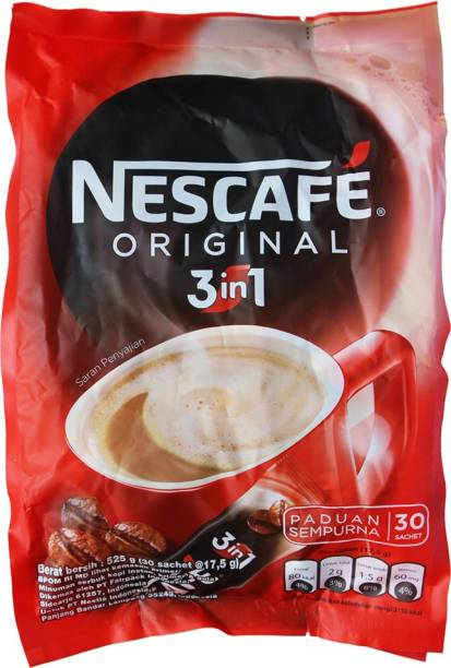 Nescafe 3 in 1 Original Soluble Coffee Beverage, 30 Sachets Instant Coffee