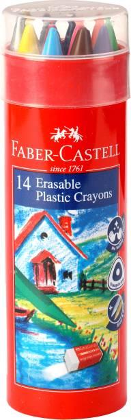 FABER-CASTELL 14 Erasable Crayon Tin With Gold & Silver