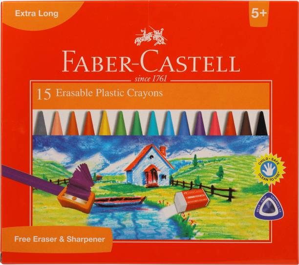 FABER-CASTELL 15 Erasable Plastic Crayons (110mm)