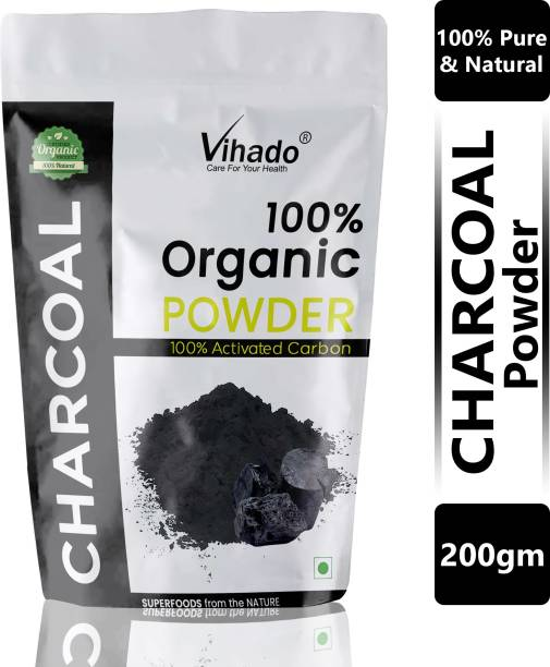 Vihado Activated Charcoal Powder, Skin Cleansing & Detoxifying, Tooth whitening, Improves Digestion - 200g(Pack of 1)
