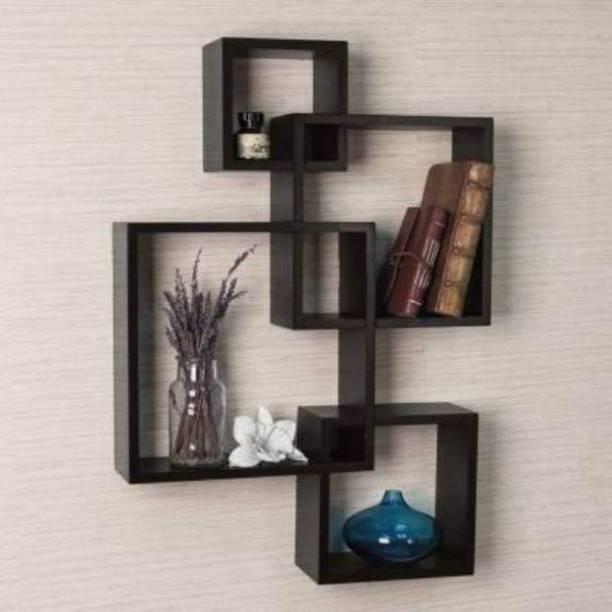 Eco Handicrafts Wooden wall shelf | wall shelves | Rack shelf ( Number of shelves 4 BLACK ) Wooden Wall Shelf