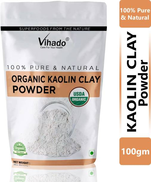 Vihado 100% Organic Kaolin Clay Powder for Acne, Blackheads & Glowing Skin 100g (Pack of 1)