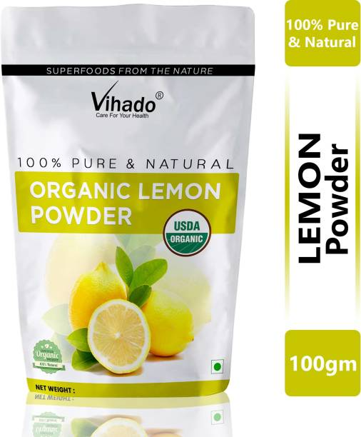 Vihado 100% Natural Organic Lemon Peel Powder for Skin and Face Cleanser 100g (Pack of 1)