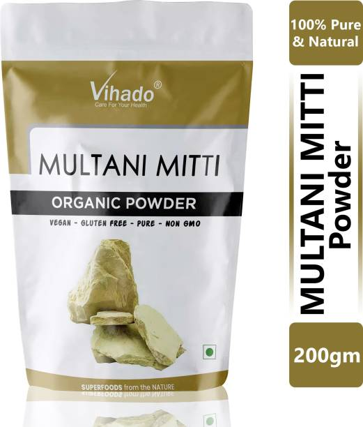 Vihado 100% Pure & A Grade Quality Multani Mitti Powder-200g (Pack of 1)