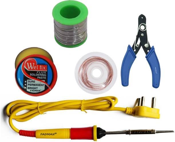 FADMAN 5 IN 1 Soldering Iron Kit (Set of 5) | Solder Wire | Soldering Paste Flux | Desoldering Wick | Wire Cutter | Yellow+Full Red Soldering Iron 25 W Simple