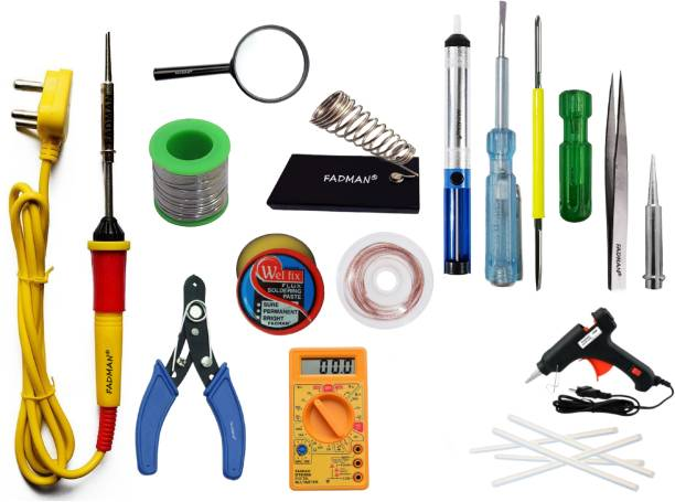 FADMAN Basic Complete Part Type-15 Soldering Iron Kit | Wire Cutter | Stand | Solder Wire | Tweezer | Soldering Flux | Soldering Bit | Tester| Desoldering Pump | Magnifying Glass | Desoldering Wick | 2IN1 Screw Driver | Digital Multimeter | 20W Glue Gun & 7mm Glue Sticks (5 PCS) | Soldering Iron 25 W Simple