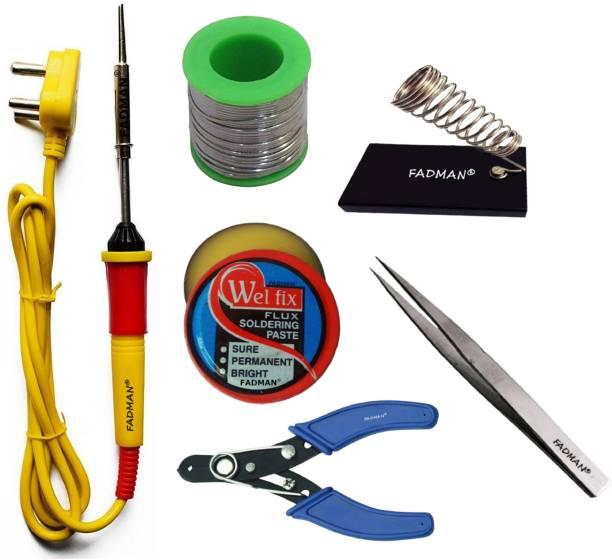 FADMAN Basic Complete Part Type-6 Soldering Iron Kit | Wire Cutter | Stand | Solder Wire | Tweezer | Soldering Flux | Soldering Iron 25 W Simple