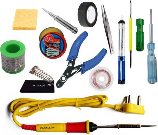 FADMAN 13 IN 1 Soldering Iron Kit (Set of 13) | Solder Wire | Soldering Paste Flux | Desoldering Pump | Wire Cutter | Soldering Bit | Sponge | 2IN1 Screw Driver | Tester | Tweezer | Hardware Tape | Stand | Desoldering Wick | Yellow+Full Red Soldering Iron 25 W Simple