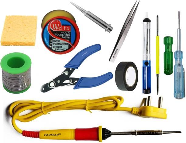 FADMAN 11 IN 1 Soldering Iron Kit (Set of 11) | Solder Wire | Soldering Paste Flux | Desoldering Pump | Wire Cutter | Soldering Bit | Sponge | 2IN1 Screw Driver | Tester | Tweezer | Hardware Tape | Yellow+Full Red Soldering Iron 25 W Simple