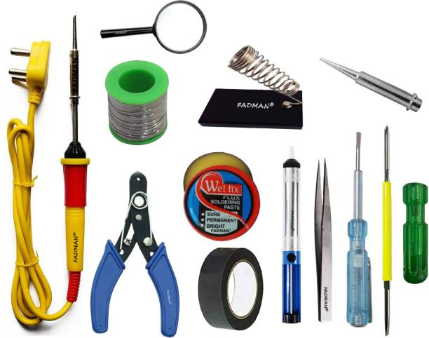 FADMAN Basic Complete Part Type-12 Soldering Iron Kit | Wire Cutter | Stand | Solder Wire | Tweezer | Soldering Flux | Soldering Bit | Tester| Desoldering Pump | Magnifying Glass | Electric Tape | 2IN1 Screw Driver | Soldering Iron 25 W Simple