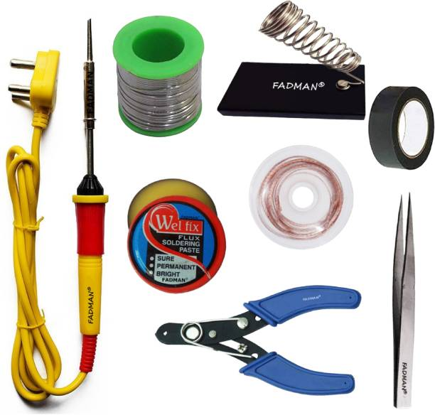 FADMAN Basic Complete Part Type-8 Soldering Iron Kit | Wire Cutter | Stand | Solder Wire | Tweezer | Soldering Flux | Desoldering Wick | Electric Tape | Soldering Iron 25 W Simple