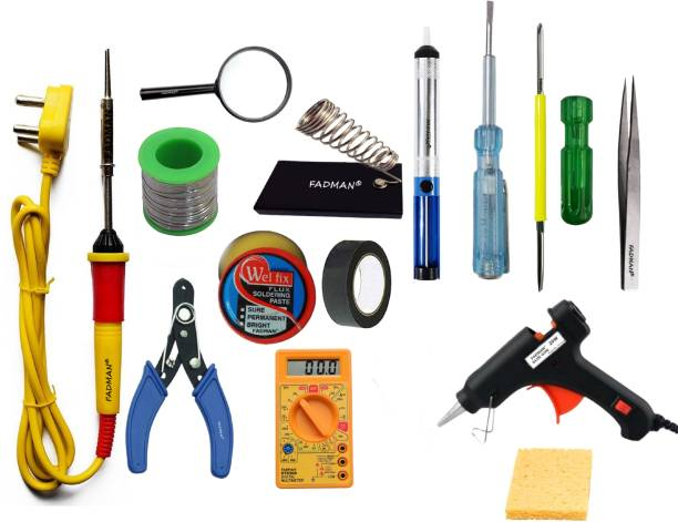 FADMAN Basic Complete Part Type-14 Soldering Iron Kit | Wire Cutter | Stand | Solder Wire | Tweezer | Soldering Flux | Sponge | Tester| Desoldering Pump | Magnifying Glass | Electric Tape | 2IN1 Screw Driver | Digital Multimeter | 20W Glue Gun | Soldering Iron 25 W Simple